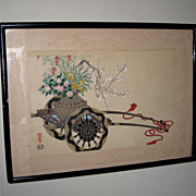 Japanese Woodblock Print of Flower Cart