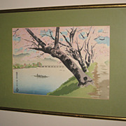 Old Japanese Woodblock Print with Cherry Blossoms