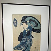 Woodblock Print of �Geisha with Umbrella�