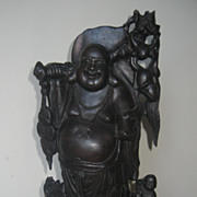 Chinese Carved Wood Standing Budai