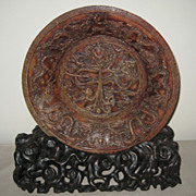 Superb Chinese Carved Soapstone Dragon Plate