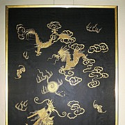 Silk and Gold Embroidered Japanese Dragon Panel