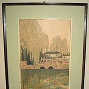Woodblock Print �Willow and Stone Bridge� by Hiroshi Yoshida, 1926