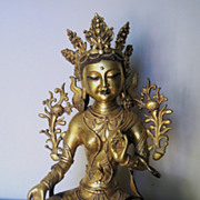 Exquisite Sino-Tibetan Gilt Bronze Seated Tara