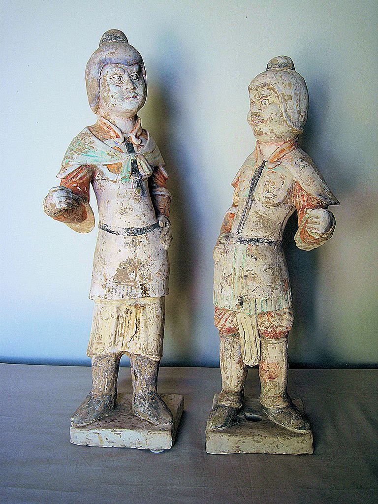 Pair of Tang Dynasty Painted Pottery Figures