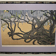 Woodblock Print �Wisteria at Ushijima� by Toshi Yoshida