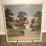 SOLD Japanese Old Woven textile of Landscape