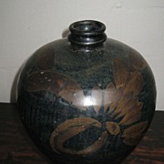 Chinese Henan Pottery Black-Glazed Vase with Rust Floral Motif