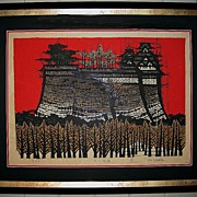 Japanese Woodblock Print �Large Castle� by Kan Kawada