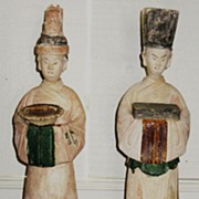 Pair of Ming Dynasty Pottery Court Attendants