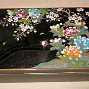 Antique Japanese Black Cloisonn Box with Floral Motif