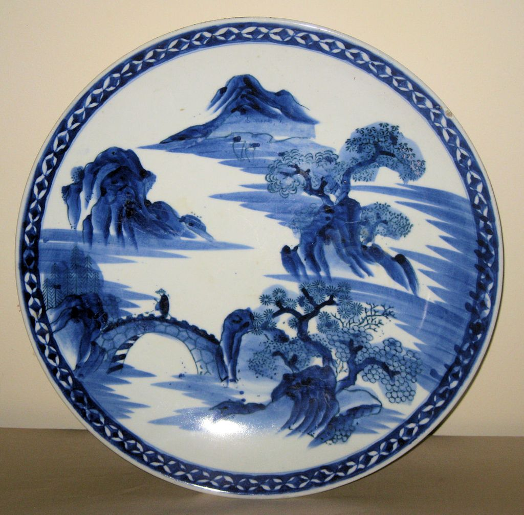 chinese blue white porcelain charger from