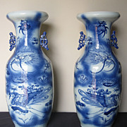 Pair of Large Chinese Porcelain Blue & White Vases