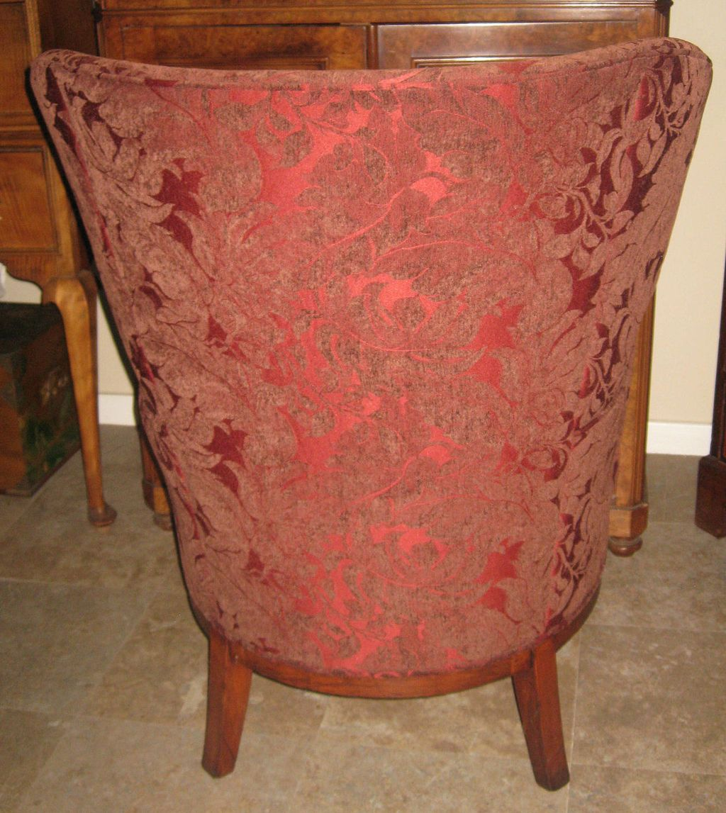 Pair of exquisite antique dark red wingback chairs from
