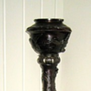 Japanese Late Meiji Bronze Pedestal Lamp
