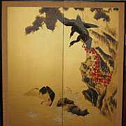 Old Japanese Two-Panel Screen with Birds