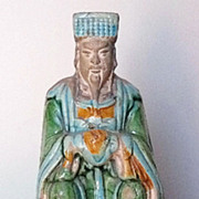 Chinese Ming Dynasty Glazed-Pottery Seated Official