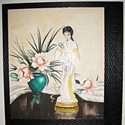 Pair of Art Deco Style Still Life�s with a Asian Theme