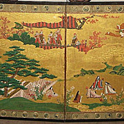 Pair of Japanese Four-Panel Genroku Screens &quot;Tales of Genji