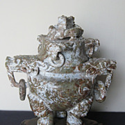 Chinese Carved Jade Tripod Incense Burner