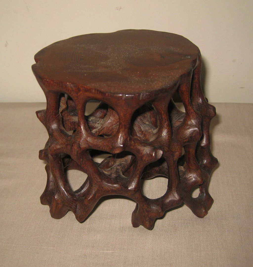 Chinese Wood Table ~ Chinese carved wood table pedestal from dynastycollections