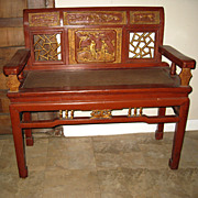 Chinese Red & Gold Lacquer Wood Bench
