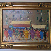 Painting by Fortunato Voir  �Dancing in the Plaza�