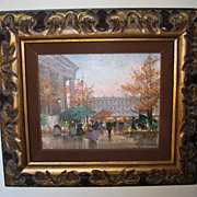 Oil Painting of a �Fall Paris Street Scene� by H. Shaeffer