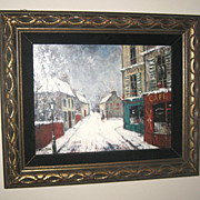 Oil Painting with a Winter Street Scene by Louis Dali