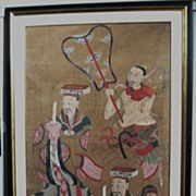 19th C. Chinese Painted Scroll of Qin Dignitaries and Assistants