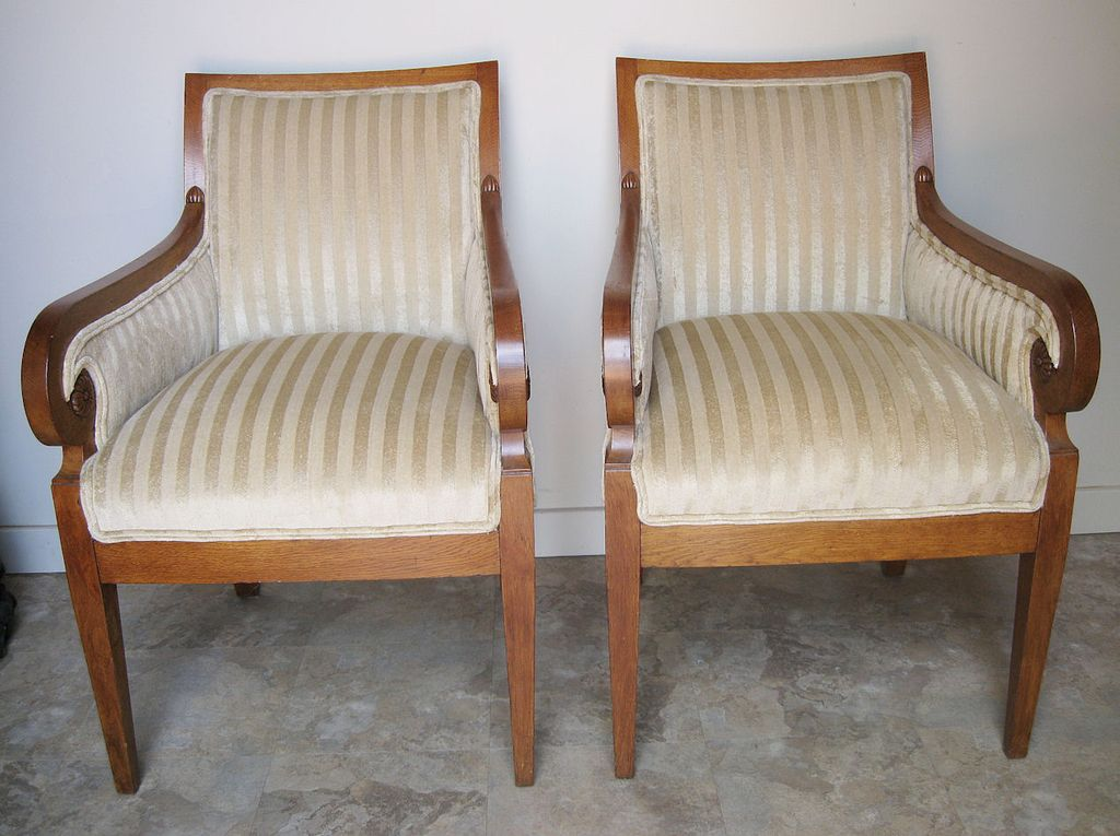 Pair of Danish Biedermeier Upholstered Arm Chairs from