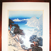 Splendid Woodblock Print of the Coast
