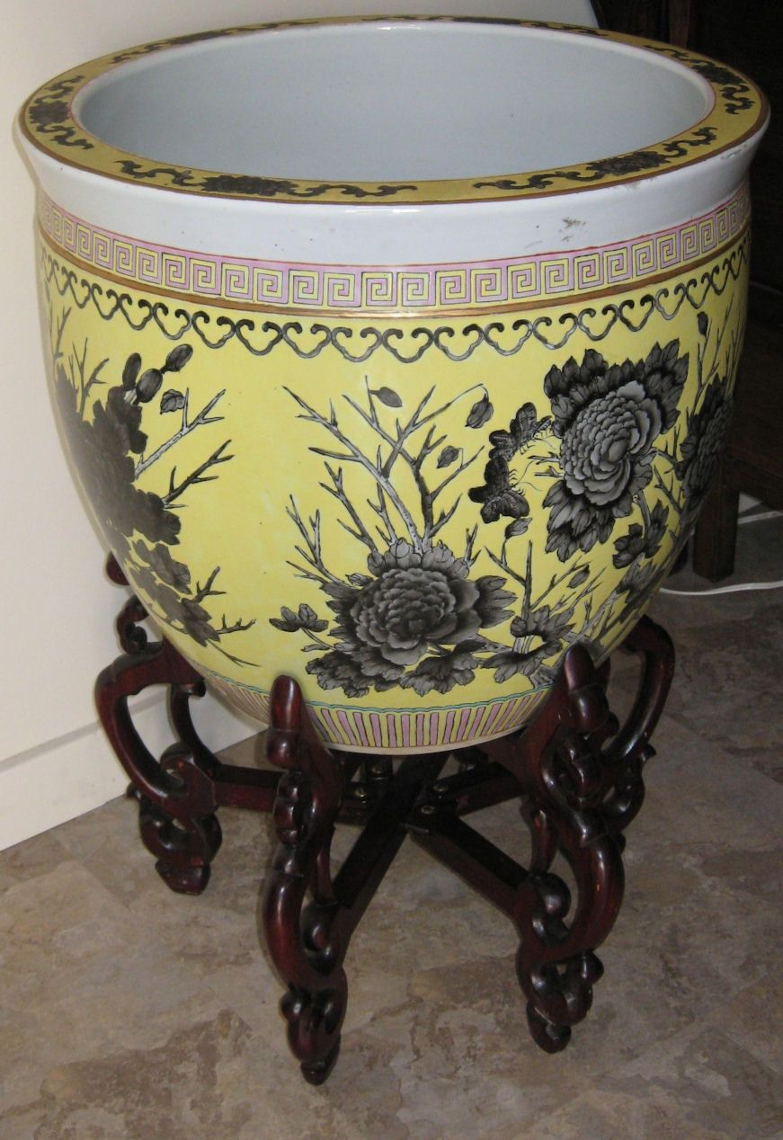 Chinese large hand painted fish bowl from for Fish bowl amazon
