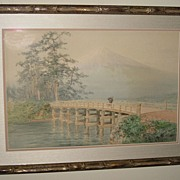 Japanese Painting of a Bridge and Mt. Fuji
