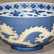 Exquisite Chinese Blue and White Porcelain Kangxi Bowl with Undulating Dragons