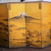 Japanese Six-Panel Signed Mt. Fuji Screen