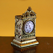 German Ormolu Mantel Clock with Porcelain Dial - Erhard & Sohne