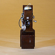 Antique Wooden Wall Telephone by Erhard & Sohne