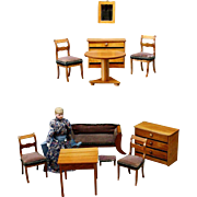 Elegant German Dollhouse Fruitwood Parlor Set with Velvet Upholstery - Mid 19th century.