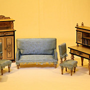 Wonderful German Wooden Dollhouse Parlor Set