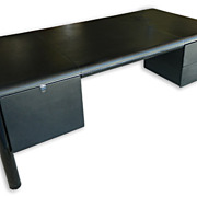 Oversize Mid-Century Italian Black Leather Desk, ca 1970s