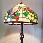 Tiffany Style Shade on Iron Floor Lamp Stand
