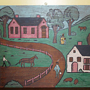 Pair of Unsigned Folk Art Paintings