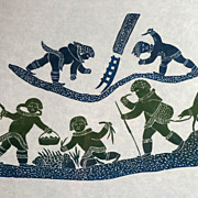 Inuit Eskimo Print from Povungnituk, Arctic Quebec, 1984