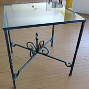 Iron Base, Glass Top Side Table