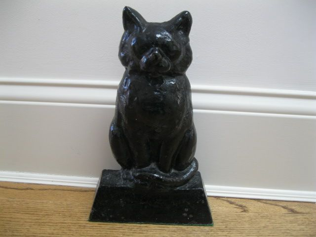 Vintage Large Cast Iron Black Cat Doorstop 12 Inches High