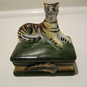Limoges Tiger Box Hand Painted & Signed