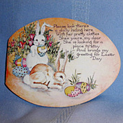 Cute Old Bunny Head Girl Paper Doll in Easter Egg Card