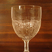 SOLD Antique BLEEDING HEART Pressed Glass Goblet EAPG
