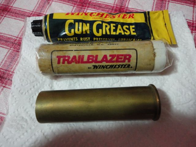 3 Vintage Winchester items 8 ga shell -grease tube-wax